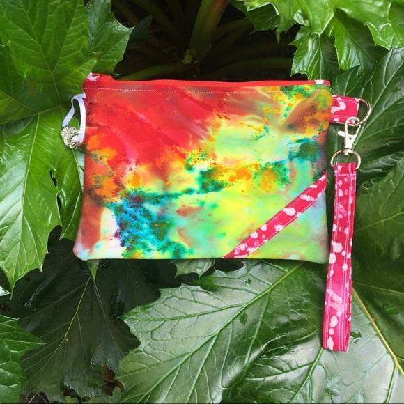 "Handbags - Tie Dyed Zipper Pouch Clutch Purse 7.5"" x 5.5"""